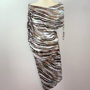 Sexy, Asymmetrical Zebra Print Off Shoulder Dress